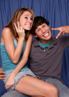 Teenage couple having fun